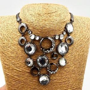 ALFANI Antiqued Silver Tone Rhinestone Necklace